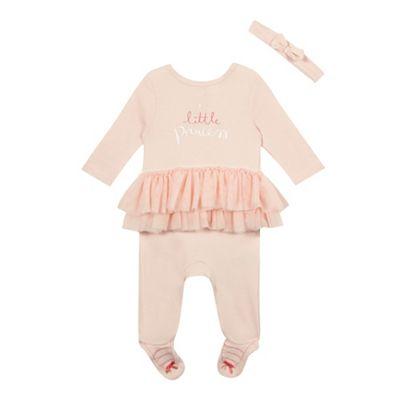 bluezoo Baby girls pink tutu sleepsuit and headband set