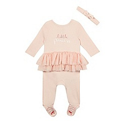 bluezoo - Baby girls' pink tutu sleepsuit and headband set