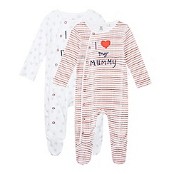 bluezoo - Pack of two babies white striped and star printed sleepsuits