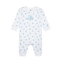 bluezoo - Babies blue star print 'Little Brother' sleepsuit