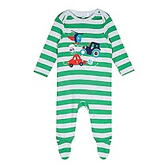 bluezoo - Babies green toy town applique sleepsuit
