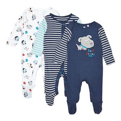 bluezoo Pack of three babies navy and white dog printed