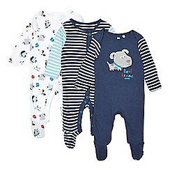 bluezoo - Pack of three babies navy and white dog printed sleepsuits