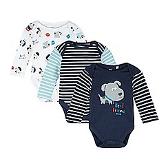 bluezoo - Pack of three babies navy and white striped bodysuits