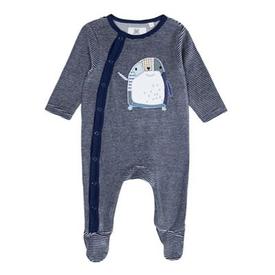 bluezoo Babies navy penguin applique velour sleepsuit - . -