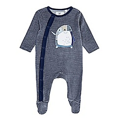 bluezoo - Babies navy penguin applique velour sleepsuit