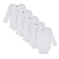 bluezoo - Pack of five babies white long sleeved bodysuits