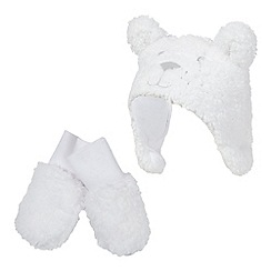 bluezoo - Baby girls' white fleece hat and mittens set