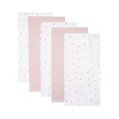 bluezoo - Pack of five babies light pink bunny muslin squares