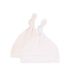 bluezoo - Pack of two babies pink plain and striped hats