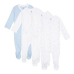 bluezoo - Pack of four babies white striped and star print sleepsuits
