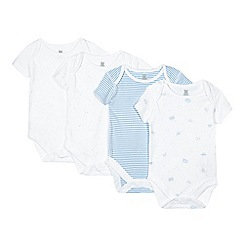bluezoo - Pack of four babies blue star and transport printed bodysuits