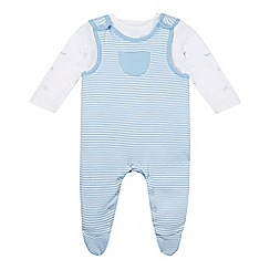 bluezoo - Babies pale blue soft dungarees and bodysuit set