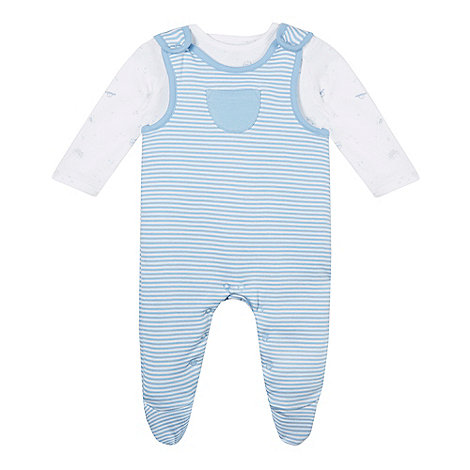 bluezoo - Babies pale blue soft dungarees and bodysuit set