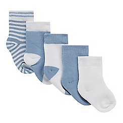 bluezoo - Pack of five babies blue plain and striped socks