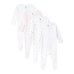bluezoo - Pack of four babies white bunny and heart printed sleepsuits