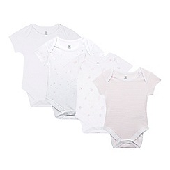 bluezoo - Pack of four babies white striped and bunny printed bodysuits