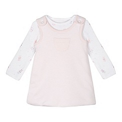 bluezoo - Babies pink soft pinafore and bodysuit set