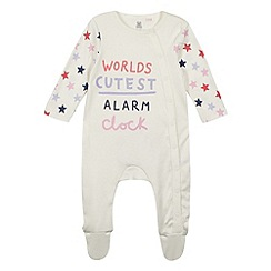 bluezoo - Babies cream 'Alarm Clock' slogan sleepsuit
