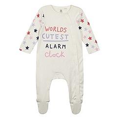 bluezoo - Babies cream 'Alarm Clock' slogan sleepsuit