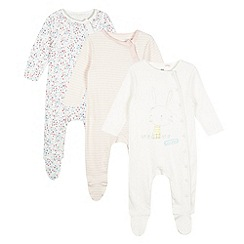 bluezoo - Pack of three babies pink bunny sleep suits