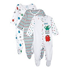 bluezoo - Pack of three babies white monster sleepsuits