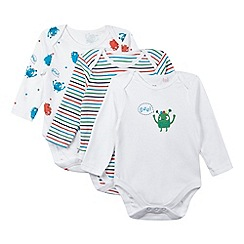 bluezoo - Pack of three babies white monster and stripe sleepsuits