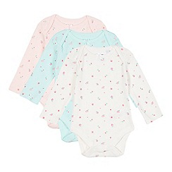 bluezoo - Pack of three babies pink, cream and green floral bodysuits