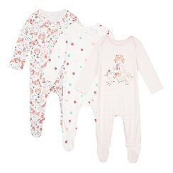 bluezoo - Pack of three babies pink cat print sleepsuits