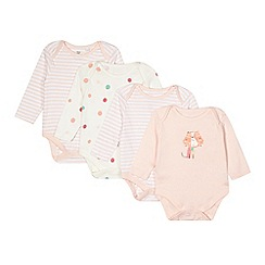 bluezoo - Pack of three babies pink cat body suits