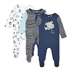 bluezoo - Pack of three babies dark blue striped dog sleepsuits