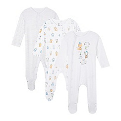 bluezoo - Pack of three white 'woodland friends' sleepsuits