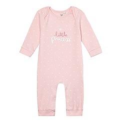 bluezoo - Baby girls' pink 'Little Princess' print sleepsuit