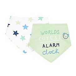 bluezoo - Pack of two babies green 'Cutest Alarm Clock' bibs