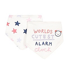 bluezoo - Pack of two babies cream 'Cutest Alarm Clock' bibs
