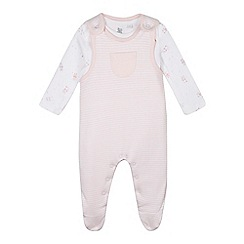 bluezoo - Babies pale pink soft dungarees and bodysuit set