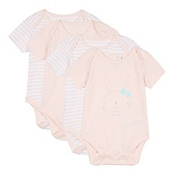 bluezoo - Pack of four babies pink plain and striped slogan bodysuits