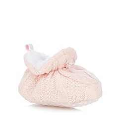 bluezoo - Baby girls' pink knitted booties