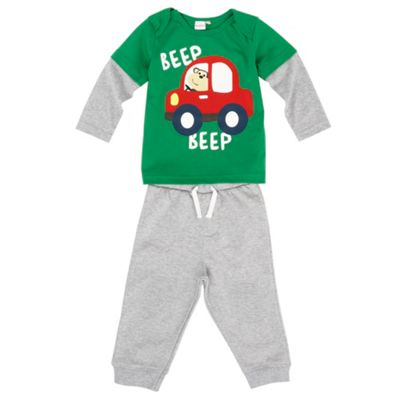 Boys Green Car T-shirt And Jogging Bottoms