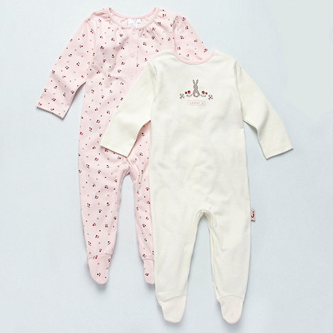 J by Jasper Conran - Designer Babies pack of two pink berry baby grows