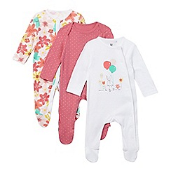bluezoo - Pack of three baby girls' assorted bunny, polka dot and floral sleepsuits