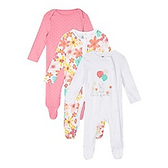 bluezoo - Pack of three baby girls' assorted floral balloon sleepsuits