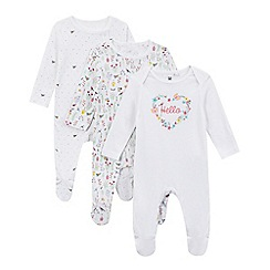 bluezoo - Pack of three baby girls' white bird print sleepsuits