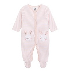 bluezoo - Baby girls' striped velour bunny sleepsuit
