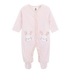 bluezoo - Baby girls' striped velour bunny sleepsuit