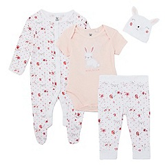 bluezoo - Baby girls' pink bunny bodysuit, sleepsuit, leggings and hat set