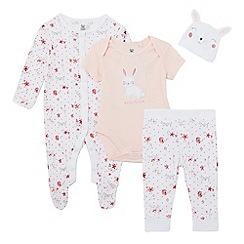 bluezoo - Baby girls' pink bunny bodysuit, sleepsuit, leggings and hat set