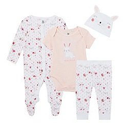 bluezoo - Baby girls' pink bunny bodysuit, sleepsuit, leggings and hat set with gift bag