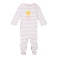 bluezoo - Baby girls' pink striped 'Grandma's Little Sunshine' sleepsuit