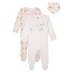 bluezoo - Pack of two baby girls' pink striped and animal sleepsuits and bib set in a gift bag